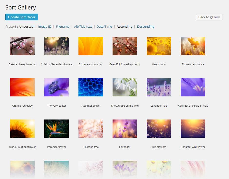 Sorting NextGEN galleries