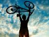 Biker holds bike