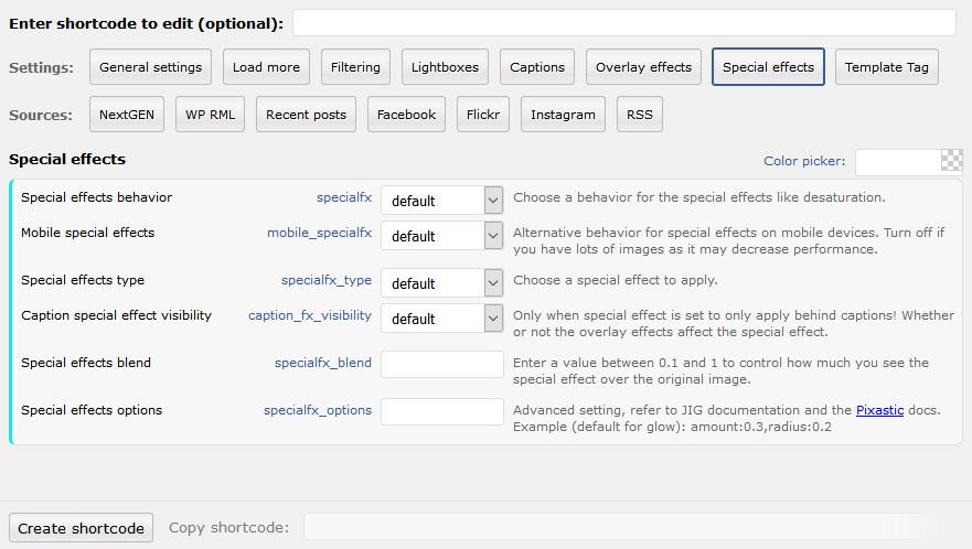 Shortcode Editor - Justified Image Grid - WordPress Gallery