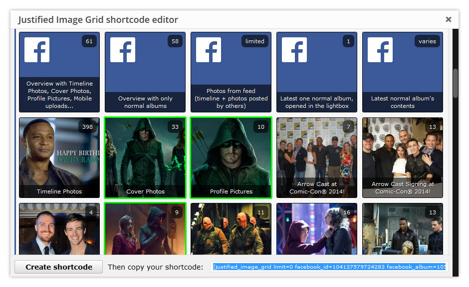 Select multiple Facebook albums