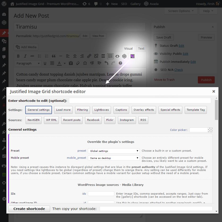 Shortcode Editor screenshot